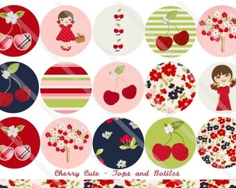 Cherry Cute M2M 1 Inch Circles Collage Sheet for Bottle Caps, Hair Bows, Scrapbooks, Crafts, Jewelry & More