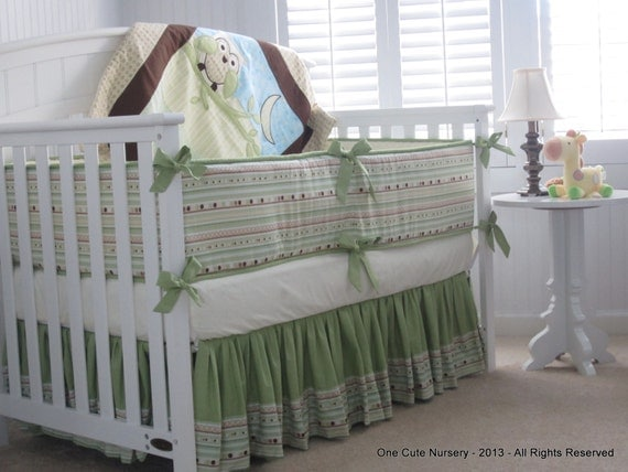 Owl Themed Crib Bedding Set Green Yellow Brown Baby