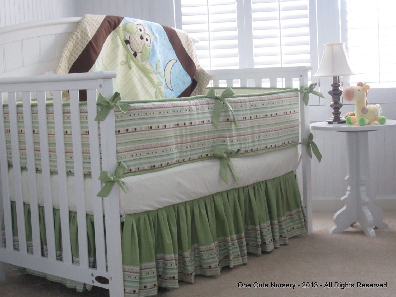 Fresh Owl Themed Crib Bedding Set