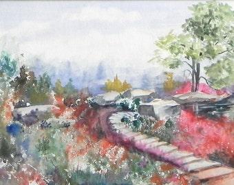 Original Watercolor Landscape, Missouri Botanical Garden, St. Louis, Missouri