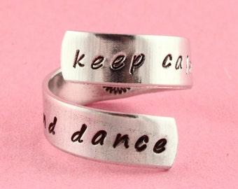 Keep Calm and Dance Ring - Gift for Ballerina - Ballet Gift - Twist Ring - Wrap Ring - Silver Ring - Custom Ring - Dance Ring - Tutu Ring