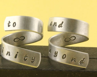 SALE - To Infinity and Beyond Ring Set - Best Friends - Adjustable Twist Wrap Aluminum Rings - Handstamped Rings - Valentine's Day