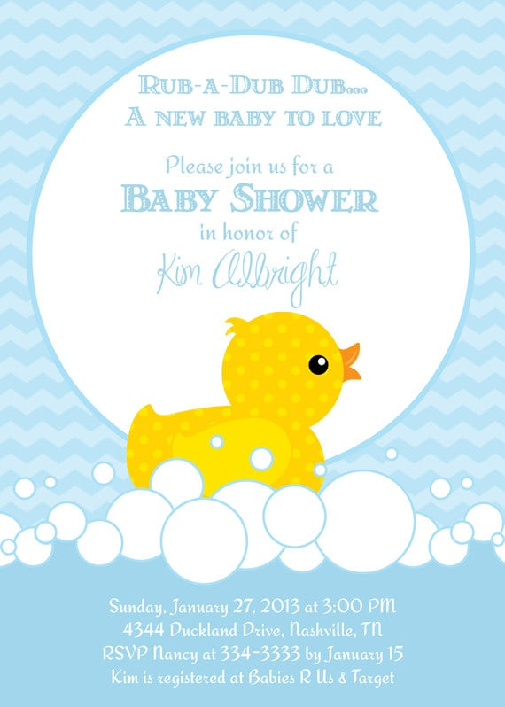 cute rubber duckie blue or pink baby shower by partypopinvites