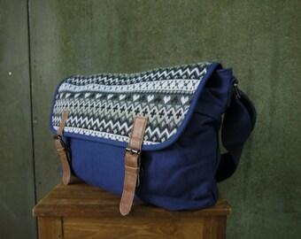 SALE...Boho Chic Dark Blue Cotton Canvas Shoulder Bag/Messenger/Unisex Bag/Notepad Bag/All Purpose Bag/ Work Bag/College bag - MB012