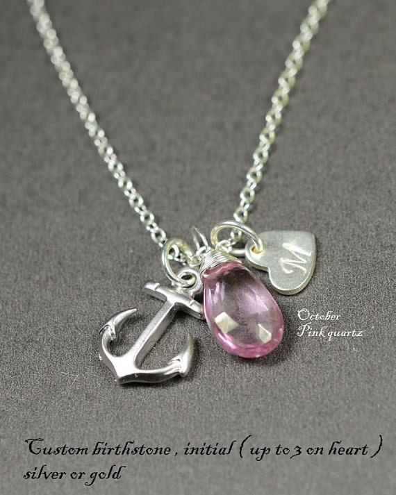Bridesmaid gifts, Anchor necklace. personalized.custom birthstone.initial . Pink wedding necklace.Anchor heart jewelry
