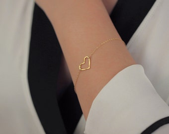 Open gold vermeil heart charm - 14k gold filled bracelet - simple everyday jewelry