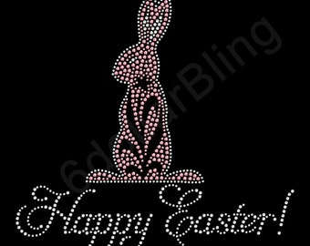 "Rhinestone Iron On Transfer ""Happy Easter"" Crystal Bling Easter Bunny Design"