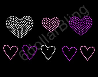 """Rhinestone Iron On Transfer """"Heart Collection (Pink and Purple)"""" Love Bling"""