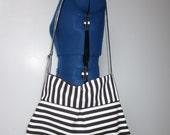 Black and white striped canvas purse