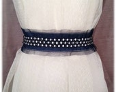 SALE!!! Vintage Inspired Something Blue Wedding Jewel & Tulle Beaded Satin Sash, Bridal Belt, Rhinestone Sash - Christina Belt