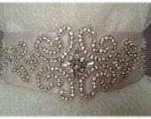 Featured on Huffington Post Weddings! Wedding Crystal Beaded Satin Sash, Bridal Belt, Rhinestone Sash - Andrea Belt