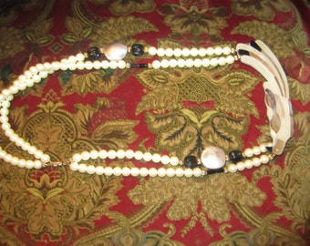 Vintage Faux Pearl  Parrot Necklace