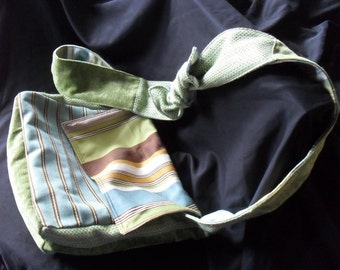 Blue, Green and Brown Striped Patchwork Messenger Bag