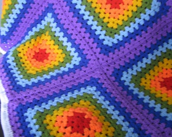Baby Afgan Granny Square Ranbow Blanket 37''. Ready to Ship. Sale 20%