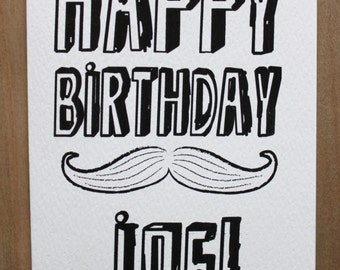 Personalised Mustache Birthday Card