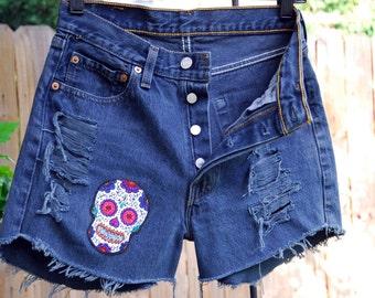 Vintage Dark Blue Levis 501 Button Fly Destroyed Studded Denim Shorts, Midi's, summer clothing, sugar skull, patch,