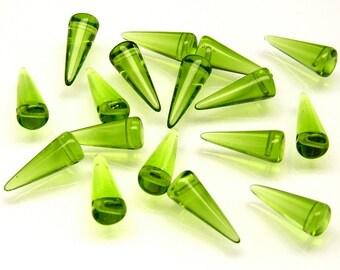 10pcs Czech Glass Spike Beads 7x17mm Green Yellow Transparent (17SP026)