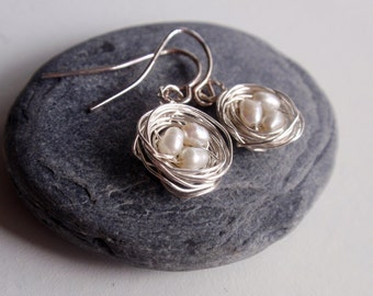 Sterling silver earrings, birds nest earrings with freshwater pearls, easter gift from UK