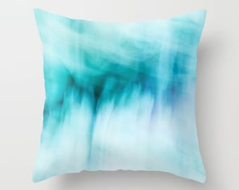"Throw Pillow Cover  - Abstract Waterfall - 16""x16"" inch 18x18 20x20 - Photography - 100% Spun Polyester - Abstract - Blue - Turquoise white"