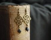 "Casanova  """" Czech bead romantic druzy earrings black / ornate / xmas stocking stuffers"