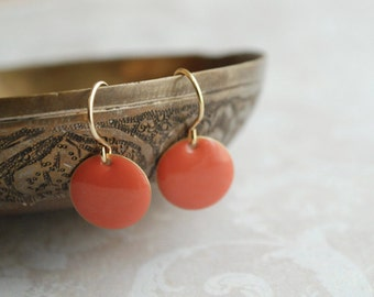 Coral red enamel earrings // minimalist earrings // women gift ideas // dangled earrings