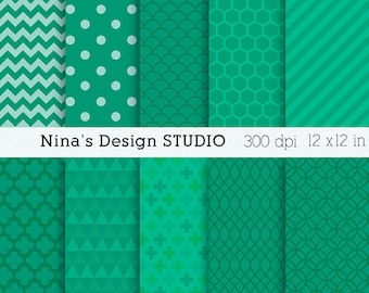 50% SALE INSTANT DOWNLOAD 10 Emerald Digital paper pack  for Personal and Commercial use Scrapbooking