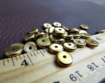 8mm Solid Brass Flat Disc Spacer Beads (100 pieces)