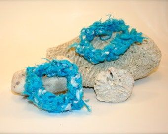 Upcycled Knit Bangle Bracelets - set of 2