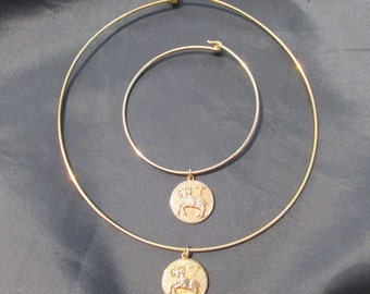 Anson Karatclad Aries Zodiac Necklace and Bracelet Set