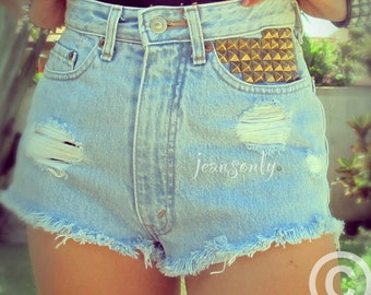 Levis High waisted cut off shorts studded denim shorts cut off jeans by Jeansonly