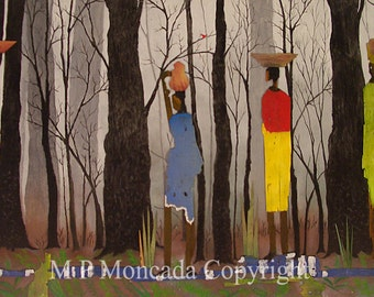 Swamp People, Life Forms, Giclee Of An Original Mixed Media Painting By M P Moncada