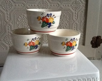 TWO Vintage Custard Cups with Flowers and Fruit Design made by Knowles Utility Ware