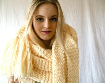 Oversized Extra Long Chunky Scarf Knit Cream