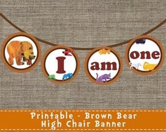 Brown Bear High Chair Banner - DIY - Printable