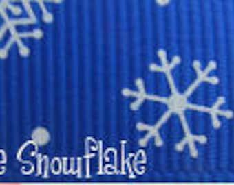 "5/8"" Grosgrain Snowflake Winter Theme Ribbon - 50 Yard Roll"