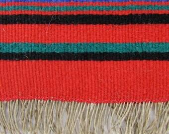Vintage Red Woven Wool Runner, Hand Woven Rug, Hand Loomed Weaving, Vintage Wool Yarn