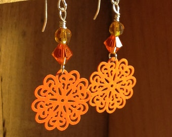 Orange Crystal and Filigree Drop Earrings