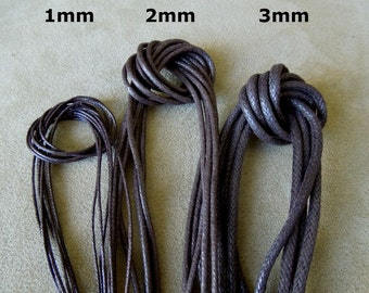 10 yards 3mm Brown Waxed Cotton Cord