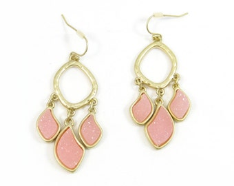 Dusty Pink Laurel Agate Druzy Stone Chandelier Statement Earrings