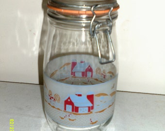 Vintage Glass Canister Jar with Wire Bale, Farmyard with Red Barn, Made in France by Arc, Kitchen Jars, Wire Bale Jar, Glass Canisters
