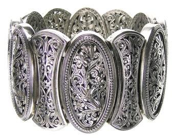 floral lacy -filigree bracelet in sterling silver