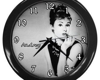 Personalised Audrey Hepburn Vintage Wall Clock Nursery Decor Bedroom Art