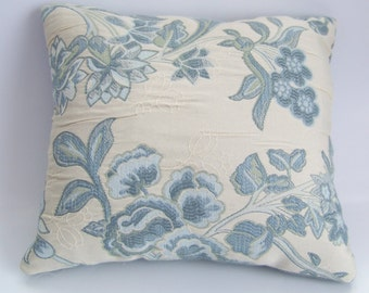 Blue Blooms on Cream Accent Pillow