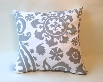 """Grey twill accent pillow cover with zipper, 18 x 18"""""""