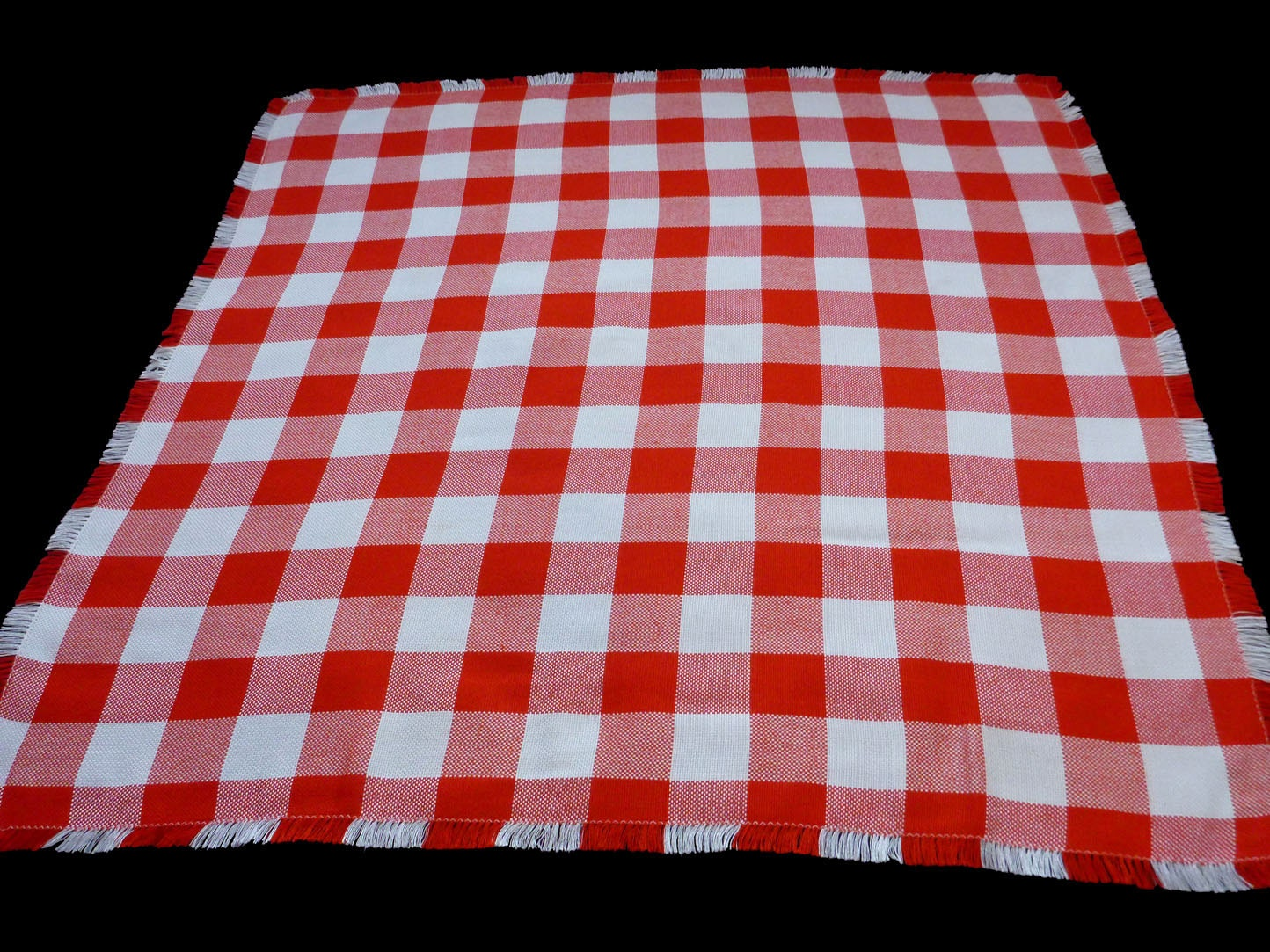 Vintage square tablecloth red and white checked table cloth
