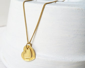 Gold Heart Necklace / 2 Hearts Gold Necklace / Gold Filled Heart Necklace / Gold Heart Necklace / Heart Pendant / Heart Charm