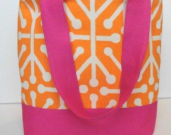 Modern Summer Orange and Bright Pink Tote