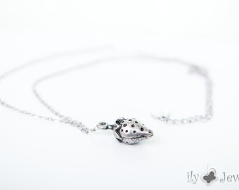 Silver Strawberry Pendant Necklace
