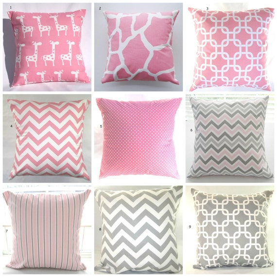 Grey And Pink Decorative Pillows : Pillows Pink Grey Baby Nursery Decorative Throw by PillowsByJanet
