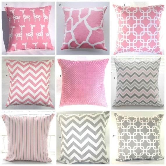 Pink And Grey Decorative Pillows : Pillows Pink Grey Baby Nursery Decorative Throw by PillowsByJanet